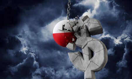 Poland flag ball smashing a USA dollar currency symbol. 3D Render
