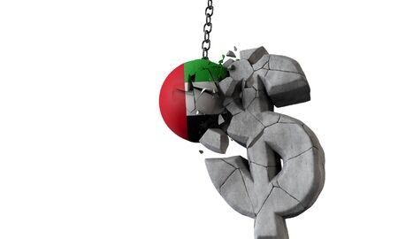 UAE flag ball smashing a USA dollar currency symbol. 3D Render Imagens