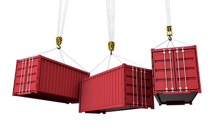 Shipping containers hanging from a crane. Business delivery comcept. 3D Render Imagens