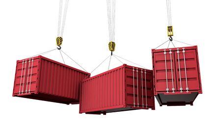 Versandcontainer hängen von einem Kran. Geschäftslieferung comcept. 3D-Rendering Standard-Bild