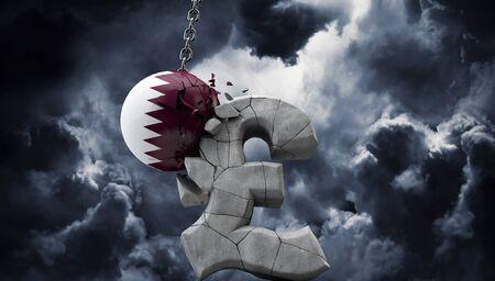 Qatar ball smashing a pound sterling symbol. UK economy. 3D Render