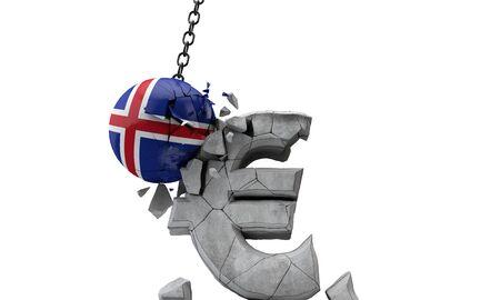 Iceland flag ball smashing a European Euro currency symbol. 3D Render