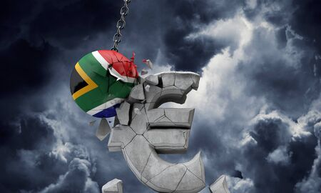 South Africa flag ball smashing a European Euro currency symbol. 3D Render