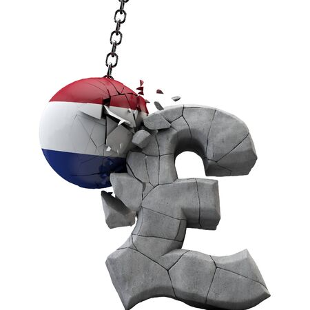 Netherlands ball smashing a pound sterling symbol. UK economy. 3D Render