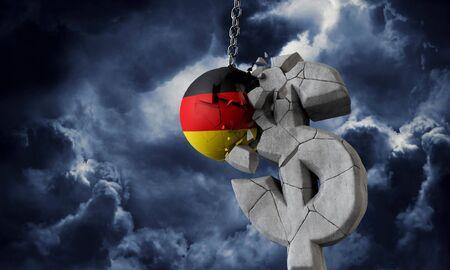 Germany flag ball smashing a USA dollar currency symbol. 3D Render