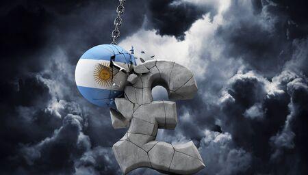 Argentina ball smashing a pound sterling symbol. UK economy. 3D Render Stock fotó