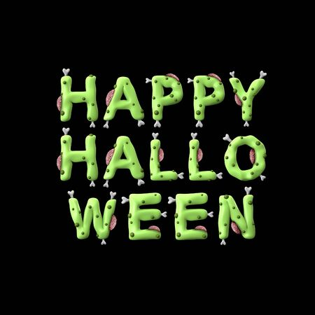 Halloween zombie phrase made from green zombie lettering
