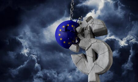 European Union flag ball smashing a USA dollar currency symbol. 3D Render Stock fotó