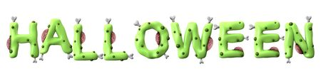 halloween word made from green zombie lettering