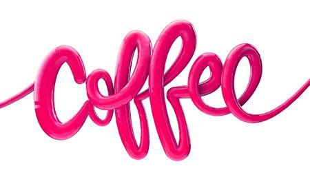 Coffee bright bubble script typography background 3D Render Banco de Imagens