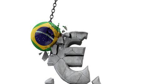 Brazil flag ball smashing a European Euro currency symbol. 3D Render Stock fotó