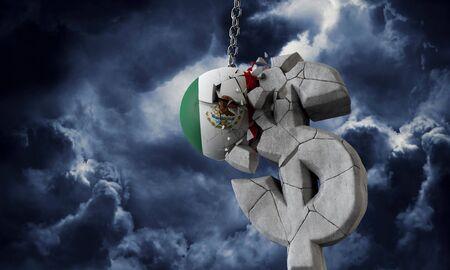 Mexico flag ball smashing a USA dollar currency symbol. 3D Render