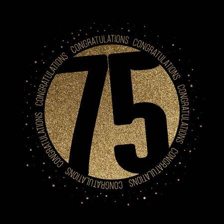 Congratulations number 75 birthday anniversary glitter circle design