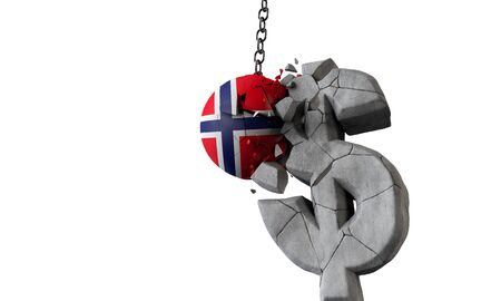 Norway flag ball smashing a USA dollar currency symbol. 3D Render