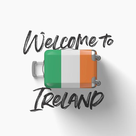 Welcome to Ireland. national flag on a travel suitcase. 3D Render