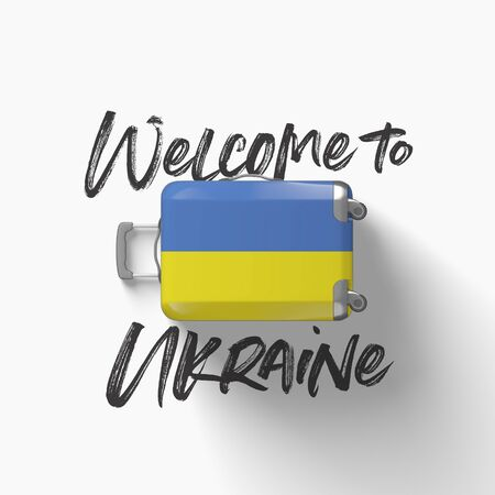 Welcome to Ukraine. national flag on a travel suitcase. 3D Render