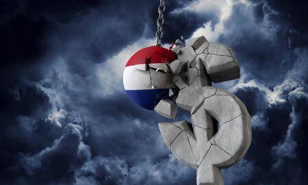 Netherlands flag ball smashing a USA dollar currency symbol. 3D Render