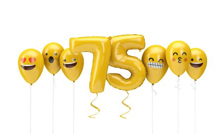 Number 75 yellow birthday emoji faces balloons. 3D Render