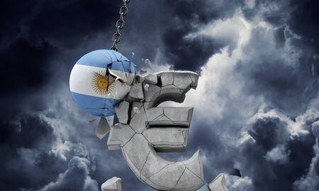 Argentina flag ball smashing a European Euro currency symbol. 3D Render