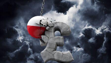 Poland ball smashing a pound sterling symbol. UK economy. 3D Render Stock fotó