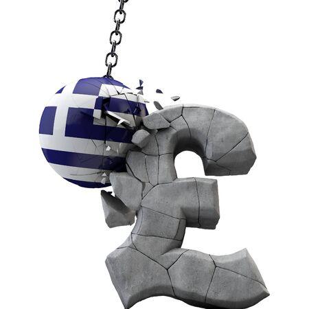 Greece ball smashing a pound sterling symbol. UK economy. 3D Render