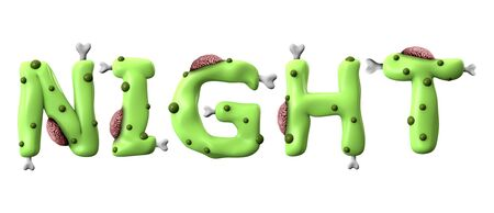 Night halloween word made from green zombie lettering