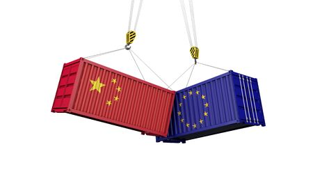 China and europe trade war concept. Clashing cargo containers. 3D Render Imagens