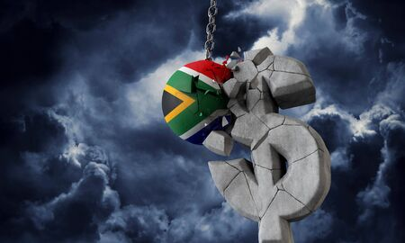 South Africa flag ball smashing a USA dollar currency symbol. 3D Render Stock fotó