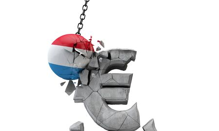 Luxembourg flag ball smashing a European Euro currency symbol. 3D Render