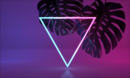 Glowing neon light with tropical monstera leaf. 3D Render Standard-Bild - 131352455