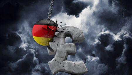 Germany ball smashing a pound sterling symbol. UK economy. 3D Render Stock fotó