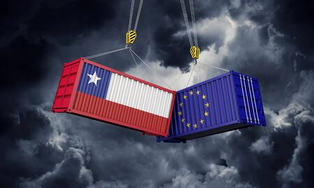 Chile and europe trade war concept. Clashing cargo containers. 3D Render