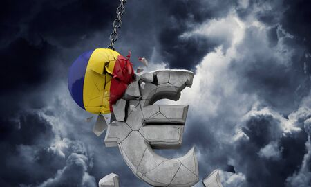 Romania flag ball smashing a European Euro currency symbol. 3D Render 写真素材
