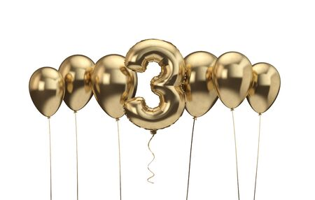 3rd birthday gold balloon background. Happy Birthday. 3D Rendering