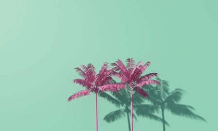 Bright summer colourful palm tree tropical background. 3D Rendering Фото со стока - 131352463