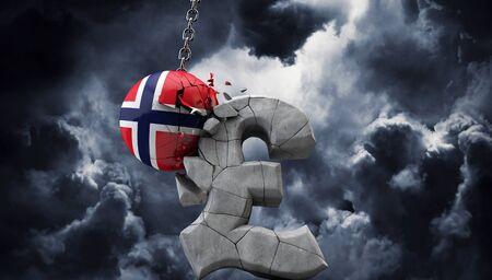 Norway ball smashing a pound sterling symbol. UK economy. 3D Render