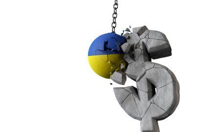 Ukraine flag ball smashing a USA dollar currency symbol. 3D Render