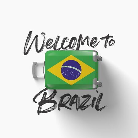 Welcome to Brazil. national flag on a travel suitcase. 3D Render Stockfoto