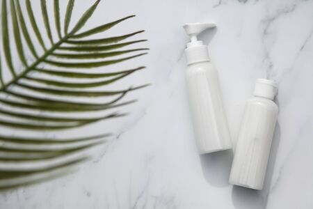 Skincare and cosmetic products on a marble background with tropical palm leaf