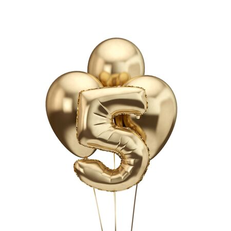 5th birthday gold foil bunch of balloons. Happy birthday. 3D Rendering Reklamní fotografie - 131352422
