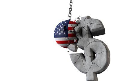 Balle du drapeau américain brisant un symbole monétaire du dollar américain. Rendu 3D Banque d'images