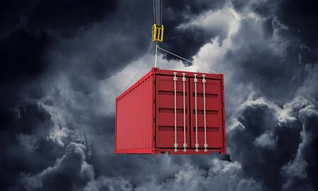 Shipping containers hanging from a crane against dark clouds. 3D Render