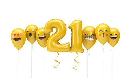 Number 21 yellow birthday emoji faces balloons. 3D Render
