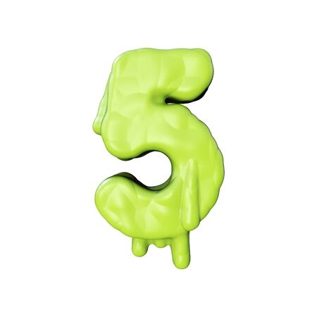 Number 5 green slime oozing halloween font. 3D Rendering Banco de Imagens