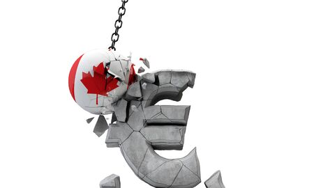 Canada flag ball smashing a European Euro currency symbol. 3D Render