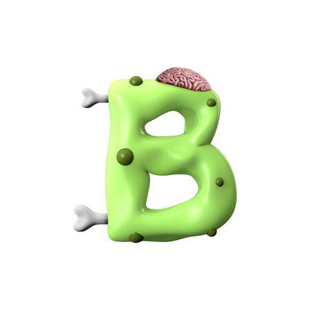 zombie alphabet letter B. Halloween font. 3D Rendering