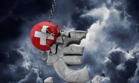 Switzerland flag ball smashing a European Euro currency symbol. 3D Render