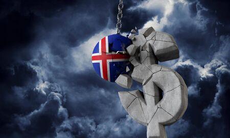 Iceland flag ball smashing a USA dollar currency symbol. 3D Render Imagens