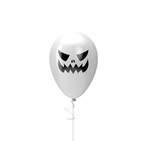 Halloween balloon with spooky face. Happy halloween decotation. 3D Render