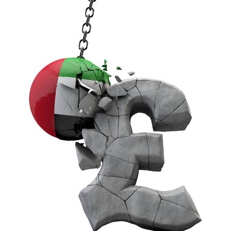UAE ball smashing a pound sterling symbol. UK economy. 3D Render